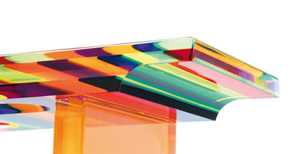 Lucite console 'Multicolore' Poliedrica