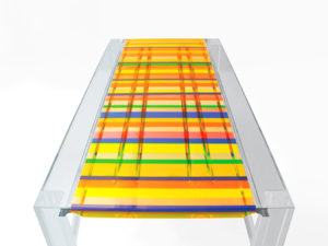 Acrylic dining table in 'Baiadera' by Poliedrica
