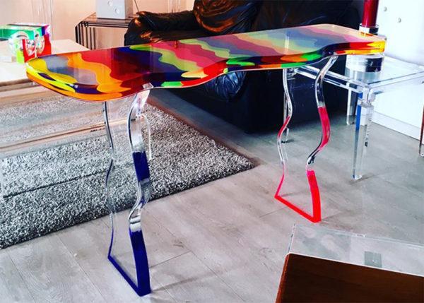 Plexiglass console table 'Fluid' M. Pettinari